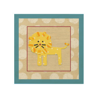 Yellow Lion with White Polka Dots Wood Wall Decor