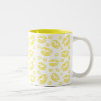 Yellow Lips Two-Tone Coffee Mug