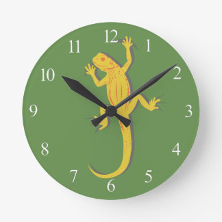 Yellow Lizard Round Clock