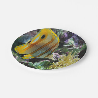 Yellow longnose butterfly fish paper plates