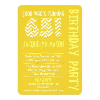 "Yellow Look Who's Turning 65 Birthday Invitation 5"" X 7"" Invitation Card"