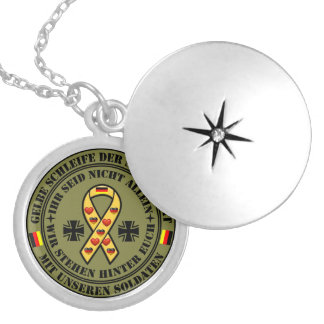 Yellow loop of the solidarity for our soldiers locket necklace