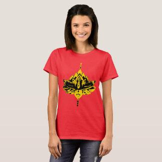 Yellow Lotus Flower Design Ladies Shirt