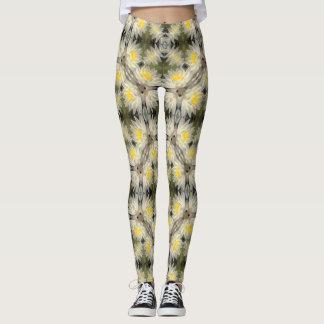 Yellow Lotus Flower Geometric Leggings