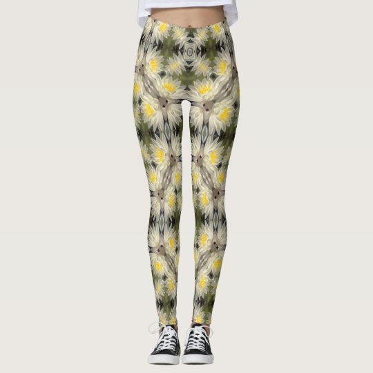 Yellow Lotus Flower Geometric Leggings