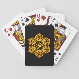 Yellow Lotus Flower Om on Black Poker Deck