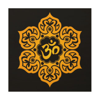 Yellow Lotus Flower Om on Black Wood Print