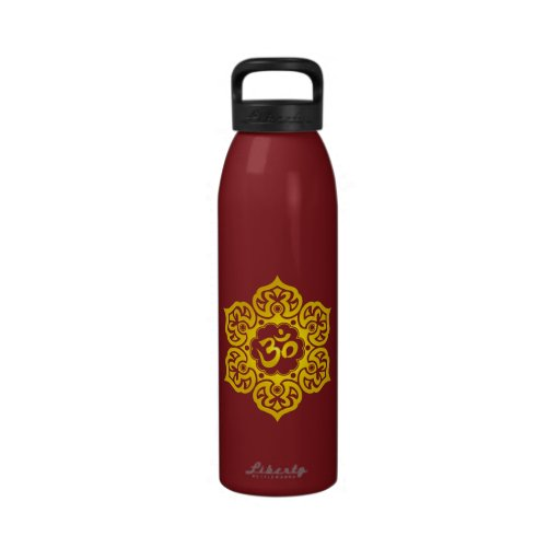 Yellow Lotus Flower Om Reusable Water Bottles