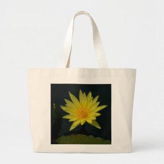 Yellow Lotus Waterlily Large Tote Bag