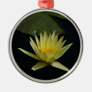 Yellow Lotus Waterlily Silver-Colored Round Ornament