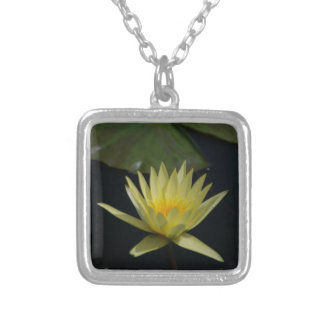 Yellow Lotus Waterlily Silver Plated Necklace