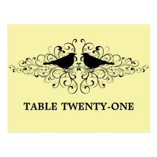 Yellow Love Bird Swirls Table Number Postcard
