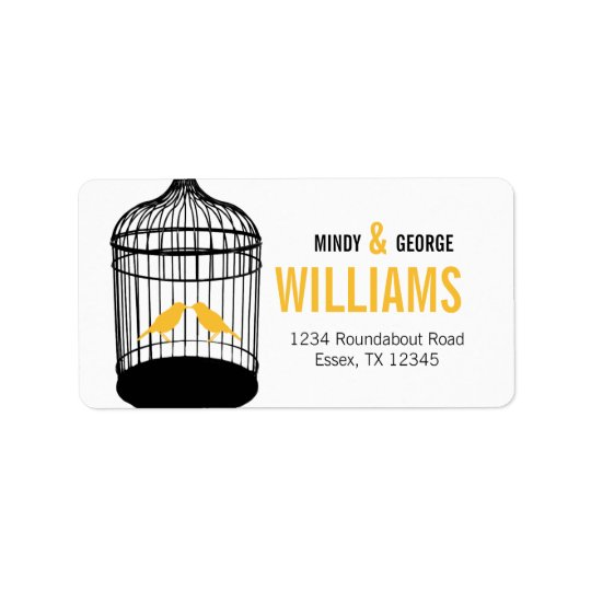 Yellow Love birds Address Labels Large