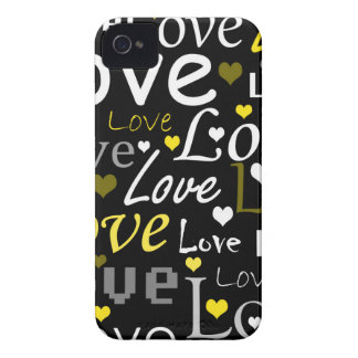 Yellow love pattern iPhone 4 case