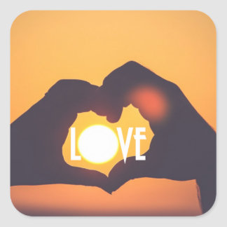 Yellow Love Sunset Sale Square Sticker