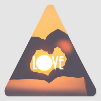 Yellow Love Sunset Sale Triangle Sticker