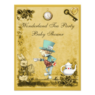 Yellow Mad Hatter Wonderland Tea Party Baby Shower Personalized Announcement