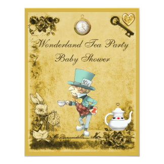 "Yellow Mad Hatter Wonderland Tea Party Baby Shower 4.25"" X 5.5"" Invitation Card"