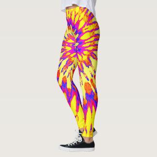 Yellow, Magenta and Orange Spiral Tie Dye Leggings