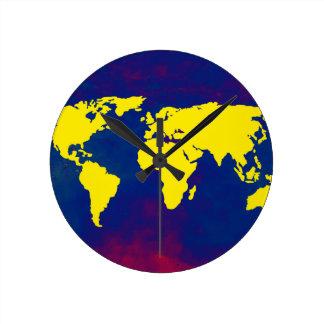 yellow map of the world round clock