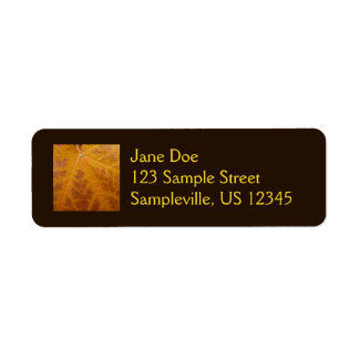 Yellow Maple Leaf Autumn Abstract Nature Return Address Label