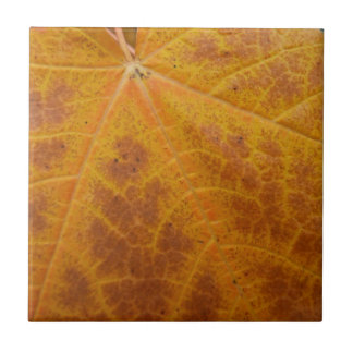 Yellow Maple Leaf Autumn Abstract Nature Tile