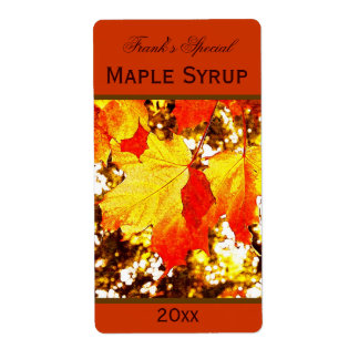 yellow maple leaves maple syrup canning label