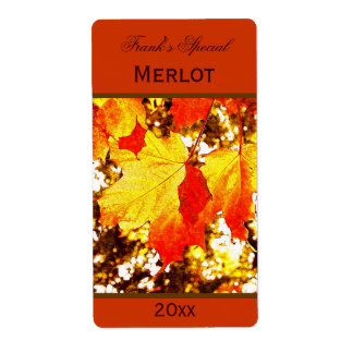 yellow maple leaves wine bottle label shipping label