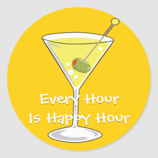 Yellow Martini Sticker