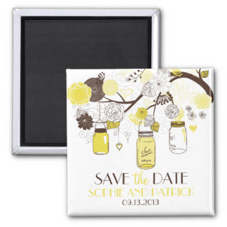 Yellow Mason Jars & Flowers Save the Date Magnet
