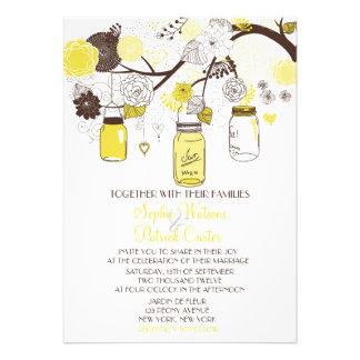 Yellow Mason Jars Flowers Wedding Invitation