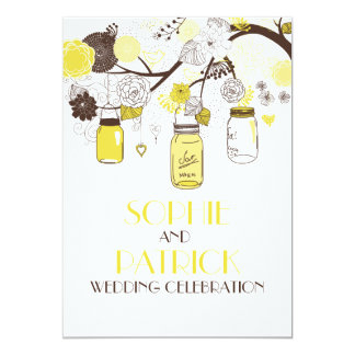 Yellow Mason Jars & Flowers Wedding Invitation
