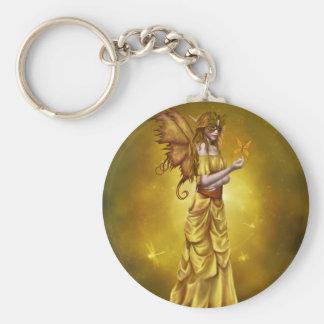 Yellow Masquerade Princess Basic Round Button Keychain