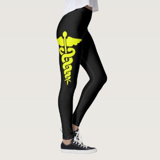 Yellow Medical Symbol Leggings
