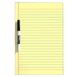 yellow medium lined dry erase board