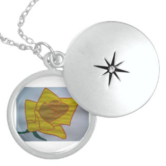 Yellow Medium Sterling Silver Round Locket