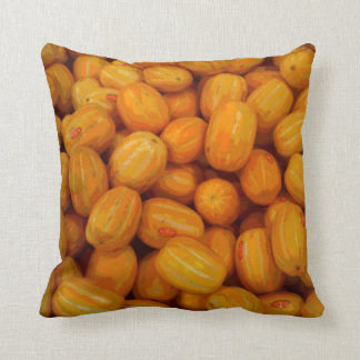 Yellow Melons in a Posterised Print Throw Pillow