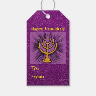 Yellow Menorah Purple Faux Glitter Pack Of Gift Tags