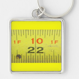 Yellow Metal Tape Measure Silver-Colored Square Keychain