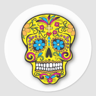 Yellow Mexican Sugar Skull Day of the Dead Classic Round Sticker