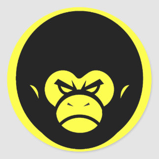 Yellow Million Monkey Logo Classic Round Sticker