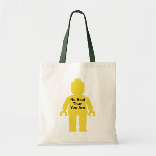Yellow Minifig with 'NO REAL THAN YOU ARE' Slogan Tote Bags