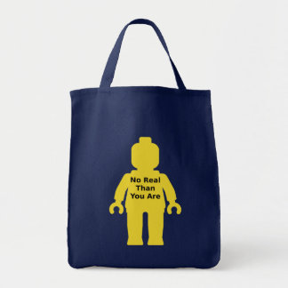 Yellow Minifig with 'NO REAL THAN YOU ARE' Slogan Grocery Tote Bag