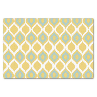 Yellow Mint Geometric Ikat Tribal Print Pattern Tissue Paper