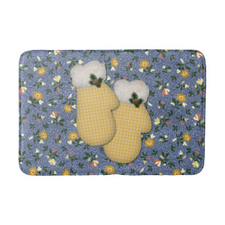 Yellow Mittens Christmas Bath Mat
