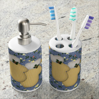 Yellow Mittens Toothbrush Holder/Soap Dispenser