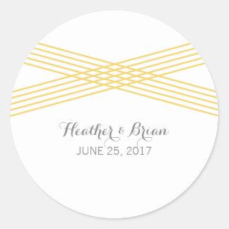 Yellow Modern Deco Wedding Stickers Round Sticker