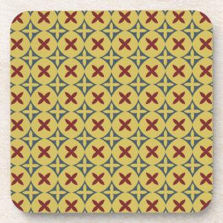 Yellow Modern Indonesia Javanese Batik Kawung Drink Coasters
