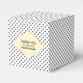 Yellow Modern Polka Dots Wedding Favor Box