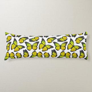 Yellow Monarch Butterfly Pattern Body Pillow